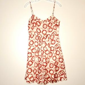 Juicy Couture 100% Silk Red & White Circle Dress 8